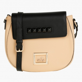 Sasha Satchel Bag with Contrast Flap