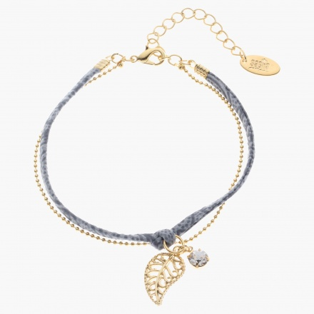 Sasha Leaf Charm Bracelet with Printed Lace