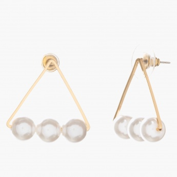Adore Pearl-embellished Triangle Earrings