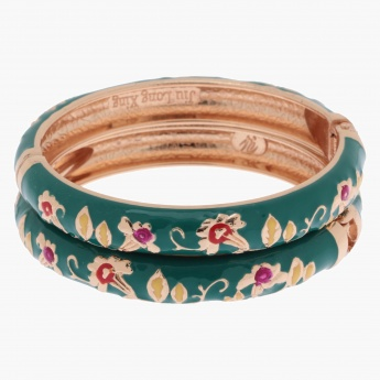 Sasha Floral-embellished Bangle Bracelet - Set of 2