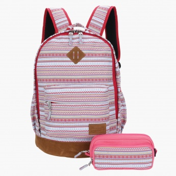 Icon Tribal Print Backpack with Pencil Case - 34x43x19 cms